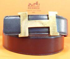 Authentic Hermes 42 Constance Reversible Belt Black Brown Leather Belt 95/38 480