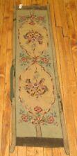 Antique Handmade English Needlepoint Panel Rug Size 1'2''x4'9''
