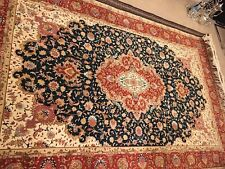 2 (a pair) exquisite genuine hand knotted wool & silk Tabriz Rug (persian).