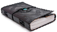 Handmade Leather Journal Turquoise Stone Black Wicca Sketchbook Notebook 9x5