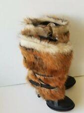 Ugg women's boots black Foxley Toscana fur high heels platforms size 8 NWOB $450