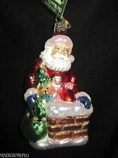 MERCK~DOWN THE CHIMNEY ORNAMENT~BLOWN GLASS~OLD WORLD CHRISTMAS~NWT