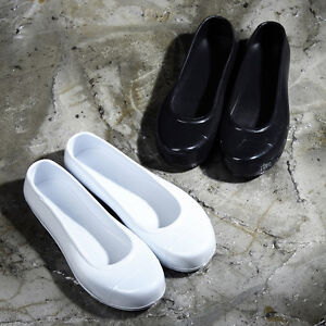ByTheR Oriental Solid Black Jelly Shoes Slip-On Rubber Korean Traditional NEW