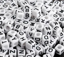 100Pcs Acrylic SINGLE LETTER A-Z White CUBE ALPHABET Spacer BEADS Findings 6MM