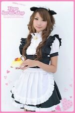 Anime Costume Cosplay Maid Cafe Classy Ruffle Front Kitty Cat Head Band Dress