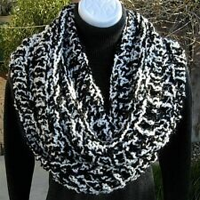 SCARF INFINITY LOOP Black White, Chunky Handmade Crochet Knit Circle Winter Cowl