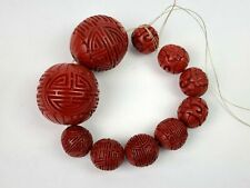 Vintage Chinese Red Cinnabar Carved Beads - 2 Large Focal Beads