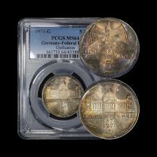 GERMANY. 1971, 5 Mark, Silver, G - PCGS MS64 - German Unification, 🌈 Toned