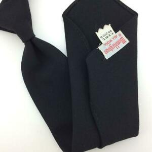 Wembley Tie Rockabilly Black Skinny Wool Necktie 50s 1950 Ties I16-172 Vtg/Rare