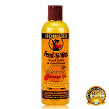 Howard FW0016 Feed-N-Wax Wood Polish and Conditioner Beeswax & Orange Oil 16oz