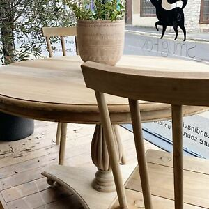 Pine round carved pedestal table