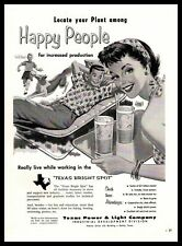 1958 Texas Power & Light Industrial Development Lemonade Rough Collie Print Ad