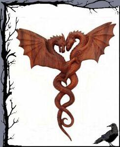 Holz Mittelalter Wandzierde - SEPTIRA - Schutz der zwei Drachen