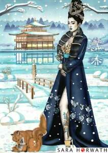 Geisha in Snow with foxes goldhouse classic limited fine art Print SARA HORWATH