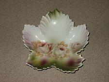 Vintage Leuchtenburg Germany Porcelain Leaf Plate Roses BEAUTIFUL