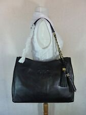 fe889592580 NWT Tory Burch Black Pebbled Leather Thea Chain Slouchy Tote $495