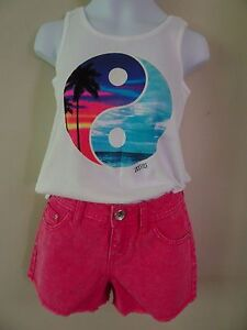 NWT JUSTICE SIZE 6 LOT SET TROPICAL TANK TOP TEE PINK JEAN SHORTS NEW