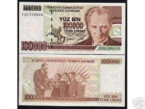 TURKEY 100000 100,000 LIRA P-206 1970 x 100 Pcs Lot BUNDLE HORSE UNC 10 Million