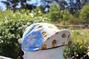 CYCLING CAP BEE & DAISY FLOWER  HANDMADE IN USA,   S M L