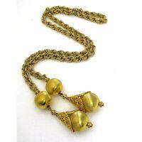 Monet BOLERO Necklace 1961 Brushed Gold Lariat Rope Chain