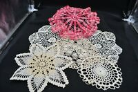 Lot of 6 Circular Hand Crocheted Doilies-Variegated Pink,7 Point Flower,White+