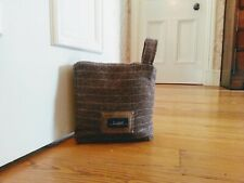 Lujo! Beautiful handmade doorstop in grey herringbone soft touch fabric (1 left)