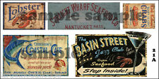HO SCALE WEATHERED BUILDING SEAFOOD RESTAURANT SIGN DECALS SHRIP CRABS  #21a