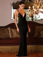 New black deep V-neck backless evening prom cocktail long dress Size UK 10-12