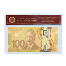WR Canada $100 Dollars Polymer Banknote 24K GOLD Bank Note Gifts In COA Sleeve
