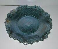 "Indiana Carnival Glass Hostess Crimped Plate Bowl Blue Iridescent 10"" Vintage JB"