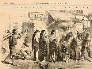 ANTIQUE WOOD ENGRAVINGS PHILIPPINES COSTUME PRINTS 1857 MANILA