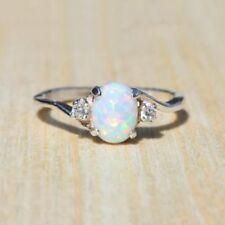 White Fire Opal 925 Silber Edelstein Frauen Schmuck Ring neue Größe 6 7 8 9 10
