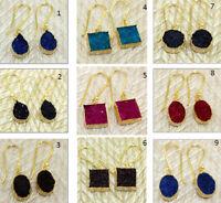 Natural Sugar Druzy Gold Plated Hook Fashion Drop & Dangle Earring Druzy Jewelry