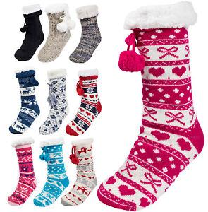 Womens Fleece Fur Lined Slipper Socks Thermal Girls Non Slip Slippers Booties