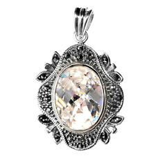 Pendant Clear Simulated CZ Simulated Marcasite .925 Sterling Silver Charm