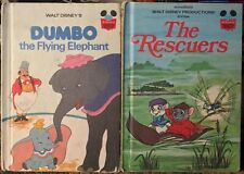 Dumbo The Flying Elephant & The Rescuers Lot Of 2 Vintage Walt Disney Hardcovers