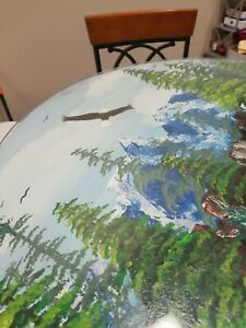 Handpainted Bar height table w/3 chairs Landscape w/eagle, waterfall, Glass top