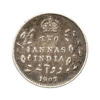 KM# 505 - 2 Annas (Silver .917) - Edward VII - India 1907 (F)