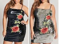 Forever 21 + Embroidered Floral Flower Flip Reversible Sequin Mini Dress Size 3X