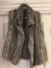 Calypso St. Barth VEST REAL RABBIT Cream Gray Knitted Fur Vest Size XS