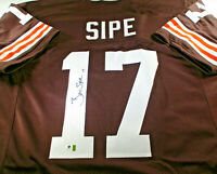 BRIAN SIPE / AUTOGRAPHED CLEVELAND BROWNS CUSTOM FOOTBALL JERSEY / GAI COA