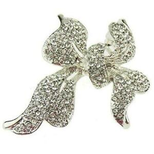 Ladies Extra Sparkly Large 5.5cm Chunky Christmas Wedding Bow Brooch