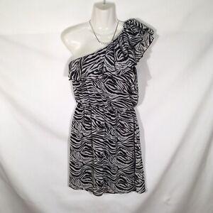Eyelash Couture One Shoulder Zebra Black White Dress Womens Size Large