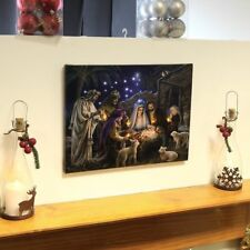 Nativity Scene Canvas with Light up LED bulbs Christmas Picture Wall Decoration