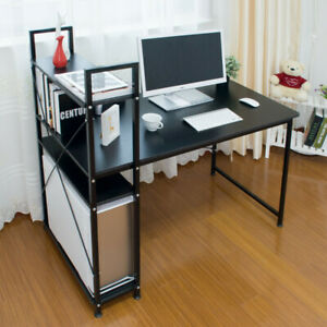 Home Office Computer Desk with 4 Tier Shelves PC Laptop Study Table Workstation