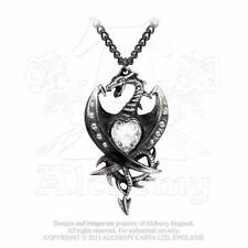 ALCHEMY DIAMOND HEART PENDANT NECKLACE GOTHIC DRAGON LADIES BLACK PEWTER GENUINE