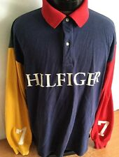 Tommy Hilfiger Vintage Shirt Long Sleeve Pullover Rugby Color Block #7 XL RARE!!