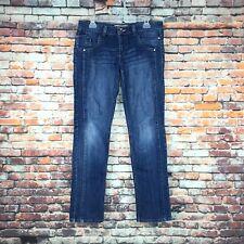 Vanilla Star Womens Size 11 Juniors Peace Love Slim Leg Dark Wash Denim Jeans