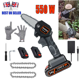 550W Mini Cordless Chainsaw One-Hand Saw Rechargeable Woodworking Wood Cutter