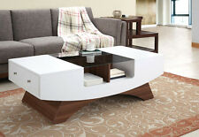 Contemporary Walnut Coffee Table Glass top Storage Drawers Living Room Furniture